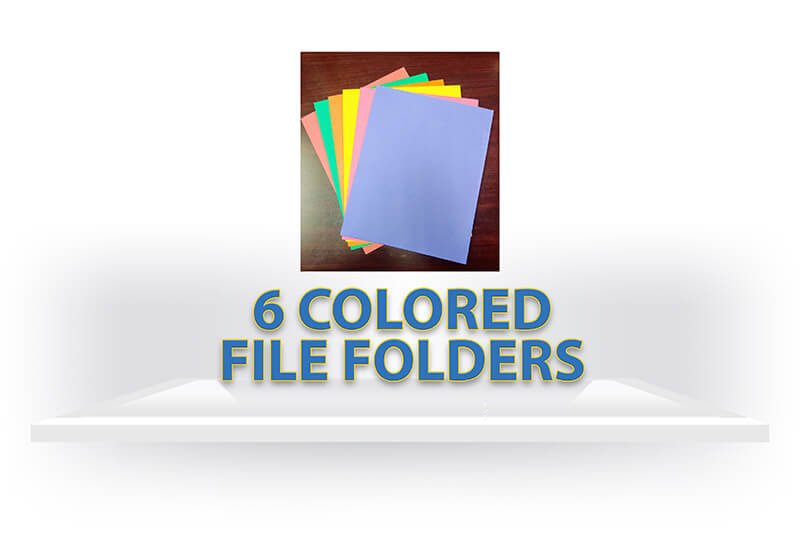 6 Colored File Folders